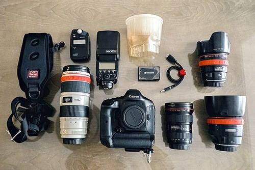 晓鑫包里的各类摄影设备