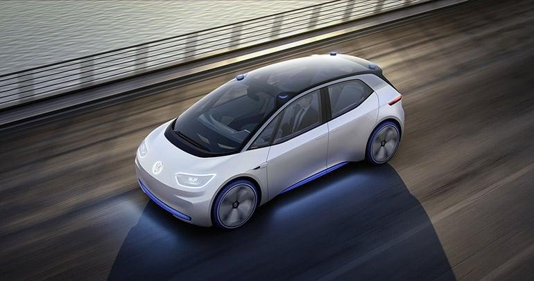 大众的 I.D. 概念车,车顶装有4个激光扫描器。在自动驾驶模式下,激光扫描器会从车顶伸出,转换到手动模式时又会缩回